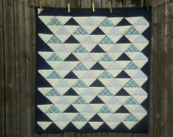 Navy & White Triangle Quilt - Baby Shower Gift - Room Decor - Handmade Quilt- Crib Quilt - Toddler Quilt - Play Mat - Gender Neutral