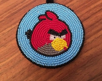 Angry Bird beaded medallion