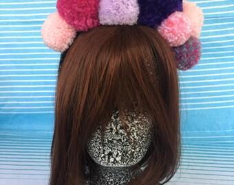 Bright Colourful Wool Pom Pom HeadbandHair Accessory