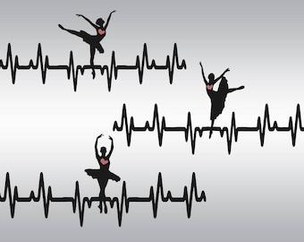Ballerina svg, Heartbeat Ballerina svg, Dancer EKG svg, Dancer svg, SVG Files, Cricut, Cameo, Cut file, Files, Clipart, Svg, DXF, Png, Eps