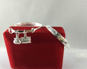Two Koi Fish 9999 Fine Silver Baby Bangle with Two Lucky Charms