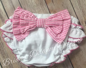 SALE! Girls gingham bow ruffled diaper cover