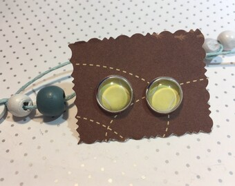 Stud Earrings cabochon tennis tennis ball
