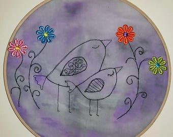 "Dreaming Birds. embroidery hoop art. 9"" wall decor."