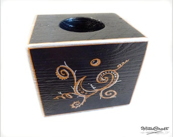 Candle holder - 1 candle - black, copper and silver with arabesque by Hitawaka