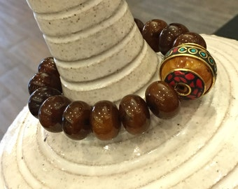 Glass bead; Bracelet; Bohemian mosaic stone; Brown,red, yellow,blue,golden; Fashion jewelry