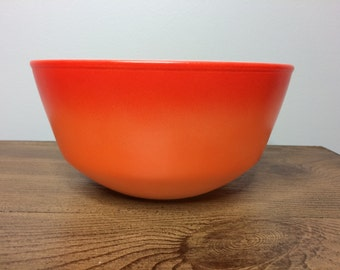 Vintage Fire King Orange Sunburst Mixing / Nesting Bowl - 1960s