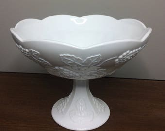 Vintage 50's Indiana Milk Glass Colony Harvest Grape pattern- Wedding / Compote Large Bowl -Pedestal Fruit Bowl