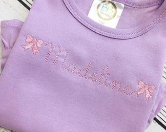 Personalized Bow Shirt, Bow Frame Ruffle Shirt, Bow Border Ruffle Shirt