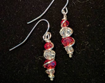 Red and clear sparkling glass jeweled earrings