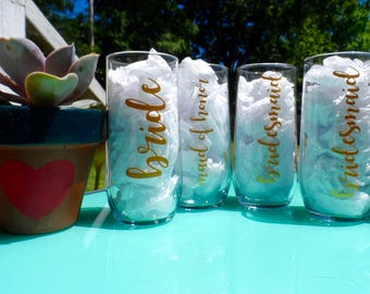 Bridal Party Glass Tumbler Set - Tall Glass Tumblers