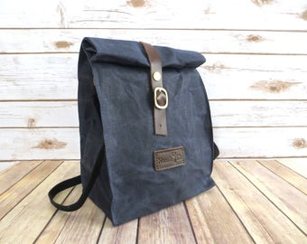 Waxed Canvas Lunch Bag With Shoulder Strap in Blue - Waxed Canvas Lunch Tote - Waxed Canvas Bag