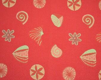 Norbar fabric sample-fabric remnant-upholstery fabric-ocean fabric-seaside fabric-luxury fabric-Dark Orange & gold fabric-home decor fabric
