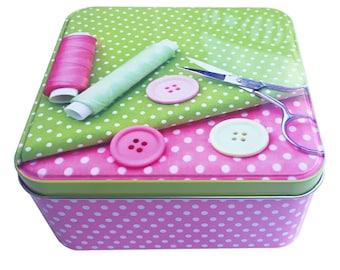 Sewing box sewing box made of metal - storage box metal box of sewing things handmade yarn buttons sewing needles