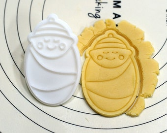 Baby boy in Swaddling Cookie Cutter and Stamp