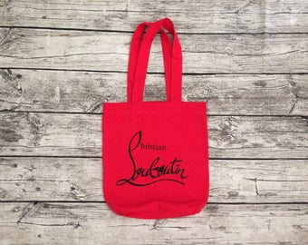 Red cotton luxury tote bag gift