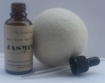 Organic Wool Dryer Ball with Oil /Jasmine Essential Oil/Natural Laundry Scent /Natural Cleaning/Chemical Free