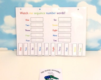Learn number words to 10, sequence numbers 1-10, matching game, KS1, homework aid, visual learners, teaching resource