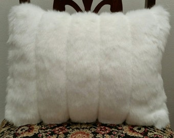 White Grooved Faux Beaver Fur Pillow