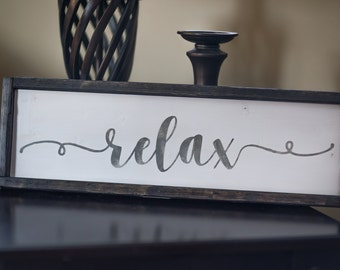 Relax wood sign - relax sign - lake house sign - cottage wood sign - beach decor - lake house decor - rustic relax - cursive wood - custom