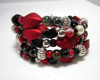 Red Black Beads Memory Wire Wrap Bracelet