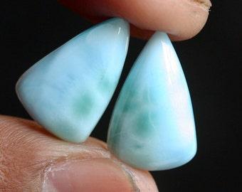 Genuine 10 Carats Sky Blue Caribbean Larimar Pair Cabochon, Semi Precious Stones, Making Jewelry, Earring Pair, Designer Gemstone, Rare, 661