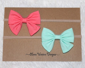 Coral and mint sailor bow headband set