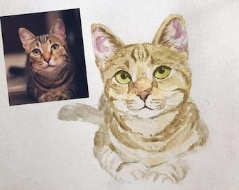 Custom cat portrait, Watercolor Cat Painting, Cat memorial, Personalized pet Painting, Cat Owner Gift, Cat Portrait Custom, Cat Lovers Gift