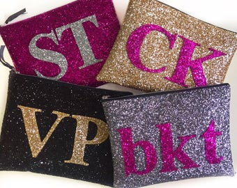 Personalised Large Glitter Monogram Clutch Bag, Letter Bag, Alphabet Bag, Monogram Clutch, Initial Bag, Sparkly Evening Clutch Bag, Wedding