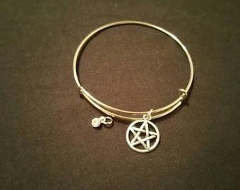 Pentacle/Pentagram Bangle Bracelet with personalized birthstone charm