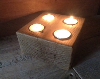 Rustic wooden Tea-light holder (4)