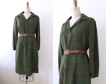 Vintage 1960s green plaid dress | 60s long sleeve dress | 60s plaid dress | green dress | winter dress | M