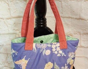 Shoulder tote purse - Blue tote pocketbook - Fabric handbag - Shoulder bag - Flower butterfly fabric - Shoulder tote - Fabric tote purse