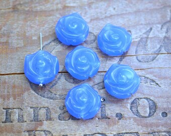 Glass Rose Bead Blue Rose Bead 18mm Glass Bead (4)