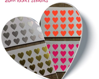 96 x 20mm Heart Stickers, 24 of each colour shown, Gold, Silver, Orange, Pink.