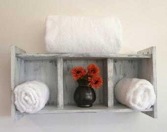 White Above The Toilet Bathroom Shelves U2013 Shabby Chic Rolled Bath Towel Rack    Chunky Rustic
