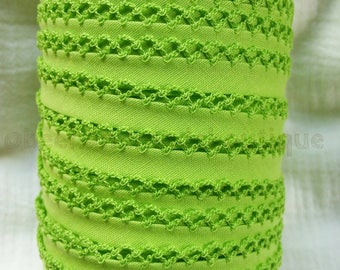 Picot Crochet Lace Edge Double Fold Bias Tape Binding Lime Green Tape Color Croche BTY