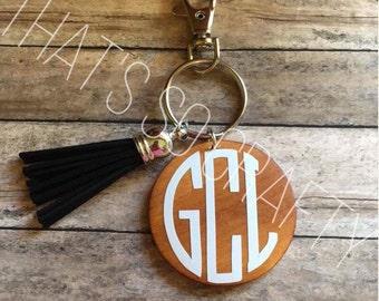 Monogram Wooden Keychain