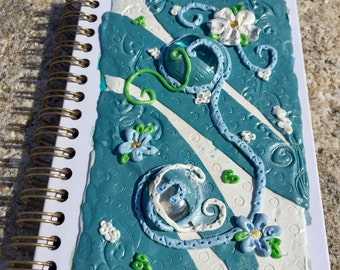 Polymer clay journal, Idea journal, Writing journal, Notebook cover, Journal diary, Travel diary, Writer gift, Memory