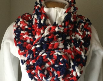 Red, White, and Blue Cowl/Scarf With Crocheted Button