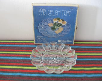 Vintage  Deviled Egg Relish Tray Platter INDIANA GLASS CO. 2410 Crystal Glass w/ Original Box