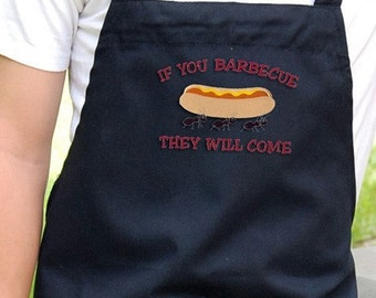 Mens Grilling Apron , Chef Bib Apron with Pockets Embroidered If You Barbecue They Will Come Design Mens Chef Apron Can Be Personalized