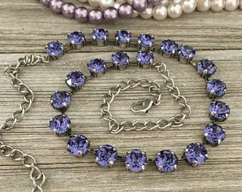 TANZMANIA - 8mm Swarovski Crystal Necklace - Tanzanite, Antique Silver