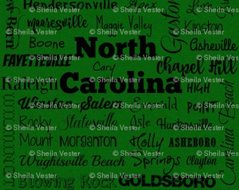 North Carolina Cities fabric - by the yard - green and black - gray and black
