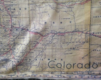 COLORADO map blanket - vintage map baby minky security blankie - small travel blanky, lovey, woobie - 11.5 by 17.5 inches