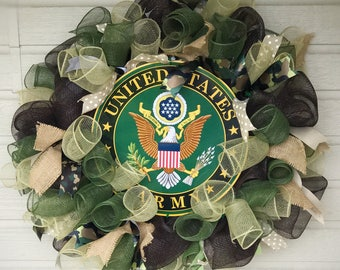 U.S. Army Wreath with emblem, Patriotic, Military, door wreath, gift, retirement, congratulations, veterans, service