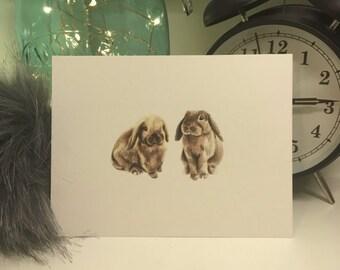 Bunny Rabbits Illustration Print A6