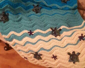 Crochet sea turtle baby blanket