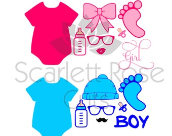 Baby Photo Booth Props SVG cut files for silhouette cameo and cricut