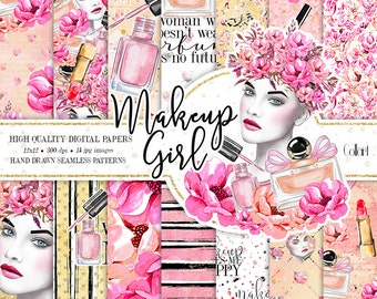 Makeup Digital Paper Pack, Hand Drawn Watercolor Fashion Illustration, Planner Stickers, Seamless Patterns, Watercolor Makeup, Cosmetic
